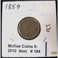 194. 1859 U.S. Indian Head Cent. G-AG.