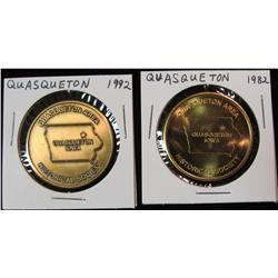 195. 1842-1992 Quasqueton, Iowa Antique & Bright Brass BU Medals. 35mm