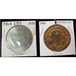 197. 1875-1975 Polk City & 1888-1988 Primghar, Iowa Centennial Medals.