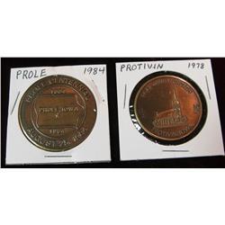 199. 1884-1984 Prole & 1878-1978 Protivin, Iowa Centennial Medals.