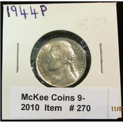 270. 1944 P Silver War Nickel. Brilliant Unc.