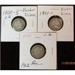 276. 1900 S (notched edge), 1901 P, & 12 D Barber Dimes. G-VG.