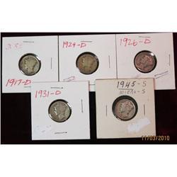 277. 1917D, 24D, 26D, 31D, & 45 Micro S Mercury Dimes. G-VG.