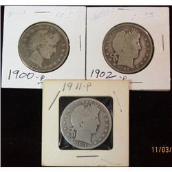 285. 1900P, 02P, & 11P Barber Half Dollars. G-4.