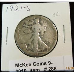 286. 1921 S Walking Liberty Half Dollar. VG-8.