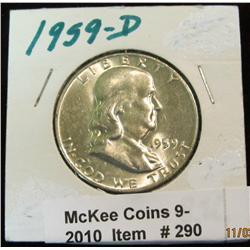 290. 1959 D Franklin Half Dollar. Brilliant MS 63.