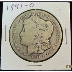 292. 1891 O Morgan Silver Dollar. G-4.