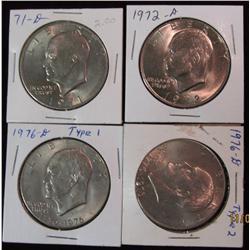 294. 1971 D, 72D, 76D Type 1, & 76D Type 2 Eisenhower Dollars. BU.