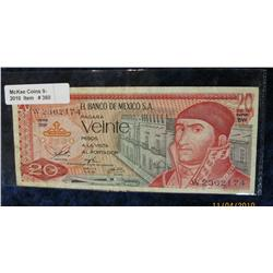 360. Series BW 20 Peso Bank of Mexico Note. F-12.