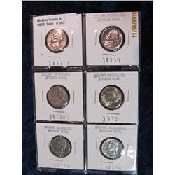 363. 1968S, 71D, 73D, 75P, 79D, & 81D Jefferson Nickels. Unc-BU.
