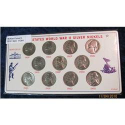 364. 1942-45 U.S. World War II Silver Nickel Set. (11 pcs.)