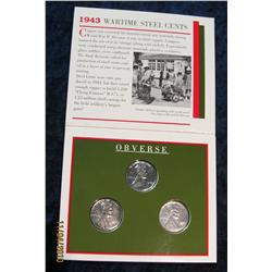 369. 1943 Wartime Steel Cents Set in a special holder.