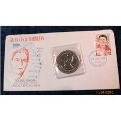 375. 1984 Antigua & Barbuda Ronald Reagan FDC Cover & Medal.
