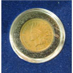 377. 1907 Indian Head Cent. Chocolate AU in a velvet-lined case.