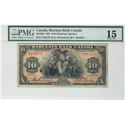 Barclay's Bank of Canada, 1935 $10 #E102197, CH30-12-06 PMG F15.