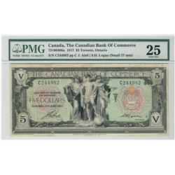 The Canadian Bank of Commerce, 1917 $5 #C244982, CH-75-16-04-06a, PMG VF25.