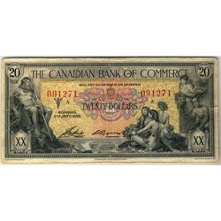 The Canadian Bank of Commerce 1935 $20 #091271.  Bright example Fine to VF with light spotting on th