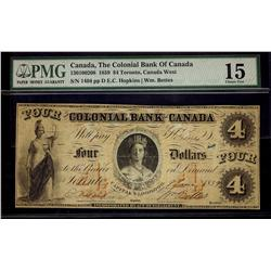 The Colonial Bank of Canada, 1859 $4 CH-130-10-02-08. PMG F15.