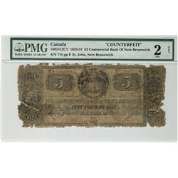 The Commerial Bank of New Brunswick, 1853-1857 £5 Counterfeit #741, CH-180-14-12CT, PMG Fair 2 Net.