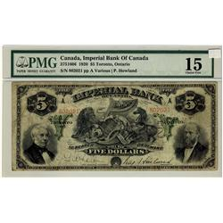 The Imperial Bank of Canada, 1920 $5 #802021, CH-375-16-06, PMG CH F15.
