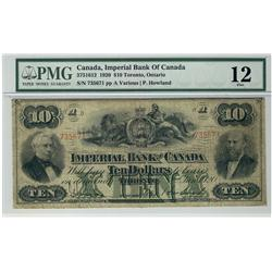The Imperial Bank of Canada,  1920 $10 #735671, CH-375-16-12, PMG F12.