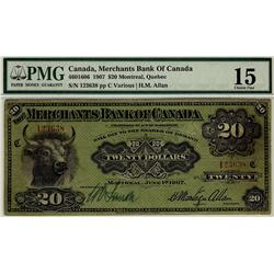 The Merchants Bank of Canada, 1907 $20 #123638, CH-460-16-06, PMG CH F15.