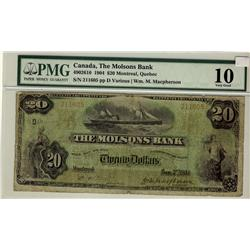 The Molsons Bank of Canada, 1904 $20 #211605, CH-490-26-10, PMG VG10.