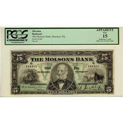 The Molsons Bank, 1912 $5 #194483, CH-490-32-02, PCGS F15 Edge Tear at Top Center