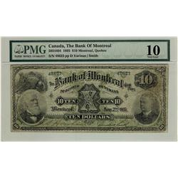 The Bank of Montreal, 1895 $10 #48623, CH-505-44-04, PMG VG10.  Scarce.