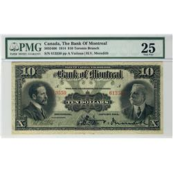 The Bank of Montreal, 1914 $10 #613550, CH-505-54-06, PMG VF25.