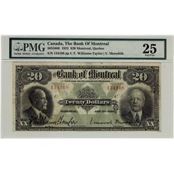 The Bank of Montreal, 1923 $20 #134108, CH-505-56-06, PMG VF25