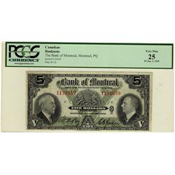 The Bank of Montreal 1935 $5 #1131659 PCGS VF25.
