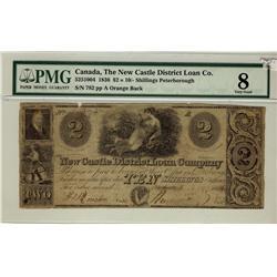 New Castle District Loan Company, 1836 $2 = 10/- Shillings, CH-525-10-04, PMG VG8.  Orange Back.