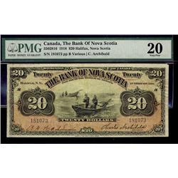 The Bank of Nova Scotia 1918 $20 #181073 CH-550-28-16 PMG VF20