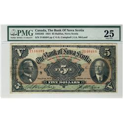 The Bank of Nova Scotia, 1924 $5 #2146484, CH-550-32-02, PMG VF25.