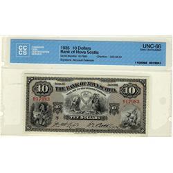 The Bank of Nova Scotia 1935 $10 #917983 CH-550-36-04 CCCS Gem UNC66.  A splendid example.