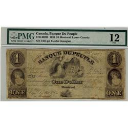 Banque du Peuple, 1839 $1 #5455, CH-575-14-02-02, PMG F12.