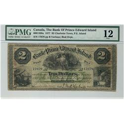 The Bank of Prince Edward Island, 1877 $2 #17879, CH-600-12-08a, PMG F12.