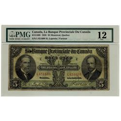 La Banque Provinciale du Canada, CH-615-14-08 1928 $5 #L451608, PMG F12,