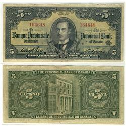 The Provincial Bank of Canada, 1936 $5 CH-615-18-04 #164648.  Rare Green Back example. A nice about