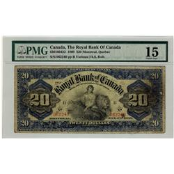 The Royal Bank of Canada 1909 $20 #062240 CH-630-10-04-22 PMG CH F15.  Only 9 known. Rare!