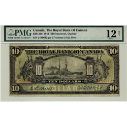 The Royal Bank of Canada 1913 $10 2199642, CH-630-12-08. PMG F12, comment Trimmed.