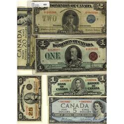 Banknote lot includes, 1923 25¢ DC-24d EF, $1 DC-25i VF, $2 DC-26h Fine, 1937 $1BC-21c EF, 1954 $20