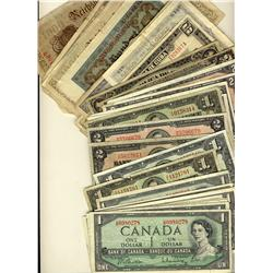 Banknotes, Divers lot of Canadian 1937-1954 issues (some DF) and a small variety of world notes(25)