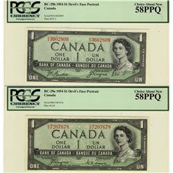 1954 $1 BC-29a and 29b, both PCGS AU58PPQ