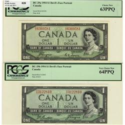 1954 $1 BC-29a B/A6369581 PCGS UNC63PPQ and BC-29b R/A3122810 PCGS UNC64PPQ lot of 2 notes