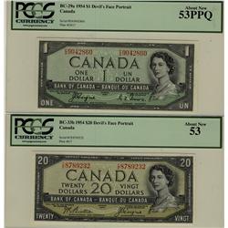1954 $1 BC-29a, $20 BC-33b both PCGS AU53