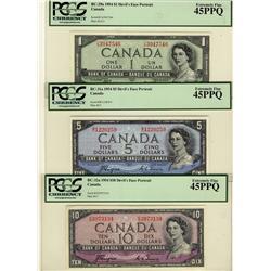 1954 $1 BC-29a, $5 BC-31a, $10 BC-32a, all PCGS EF45PPQ