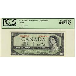 1954 $1 BC-29aA *A/A0000681 PCGS UNC64PPQ, RARE NOTE.