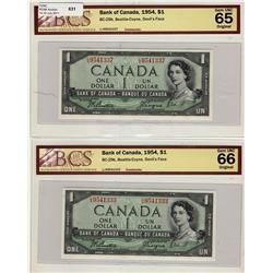 1954 $1 BC-29b #LA9541333 BCS Gem UNC66 & #LA9541337 BCS Gem UNC65.  Lot of 2 notes.